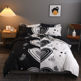 DEALS FOR LESS - Queen/Double Size, Duvet Cover, Bed Sheet Set of 6 Pieces, Black Heart Design, 1 Duvet cover + 1 bedsheet + 4 pillow covers.