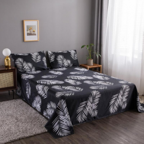 DEALS FOR LESS - Bedsheet set of 3 pieces,  White Leaves  Design.