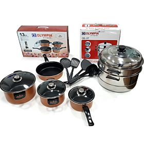 13PC Non-Stick Cookware Set + Double Multi-Purpose Steam pot