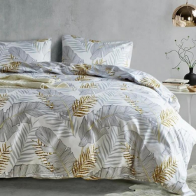 DEALS FOR LESS - Queen/Double Size, Duvet Cover, Bed Sheet Set of 6 Pieces,  Leaves Design , 1 Duvet cover + 1 bedsheet + 4 pillow covers.