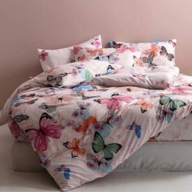 DEALS FOR LESS - Queen/Double Size, Duvet Cover, Bed Sheet Set of 6 Pieces,  Pink Buttefly Design , 1 Duvet cover + 1 bedsheet + 4 pillow covers.