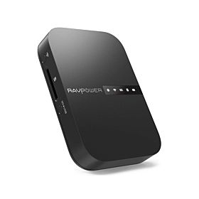 RAVPower Wireless FileHub Plus 3-Mode Portable Router with 6700mAh External Battery - Black RP-WD009-BK