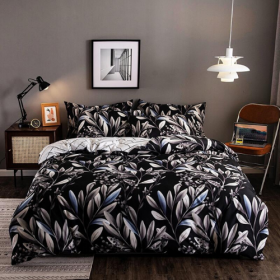 DEALS FOR LESS - King Size, Duvet Cover, Bed Sheet Set of 6 Pieces, Black with Leaves  Design, 1 Duvet cover + 1 Fitted bedsheet + 4 pillow covers.