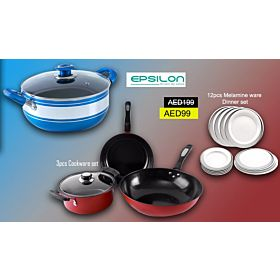 Epsilon Special Combo Offer Epsilon 3 Pcs Non-Stick Cookware Set, EN3636+Epsilon 12 Pcs Melamine Ware Dinner Set, EN3646+Epsilon 1pc Cookware EN3641