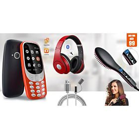 3310, Dual Sim Mobile phone + SH -11  Bluetooth Headphones +  Hair Straightener+ Dragon 2in1 data Cable Wire