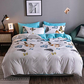 DEALS FOR LESS - King Size, Duvet Cover, Bedding Set of 6 Pieces, Blue butterfly Design, 1 Duvet cover + 1 Fitted bedsheet + 4 pillow covers.