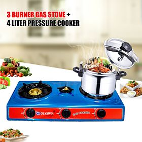 3 in 1 combo Offer 3 Burner Gas stove + 4 liter pressure cooker + Electric Kettle