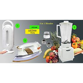 3 Items  Combo (Euromax  Blender, Emergency,Iron Box)