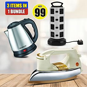 3 Items In 1 Bundle Offer Heavy Iron Box, 4 Layer Vertical Type Multi Plug 250 V Universal 16 Outlet Power Strip Multi-functional Extension Socket, Stainless Steel Electric Kettle
