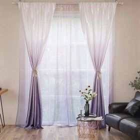 Deals For Less - 2 Pieces Grey Purple Ombre Design Window Curtains