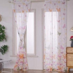 DEALS FOR LESS - Window Sheer Set of 2 Pieces, Butterfly Design
