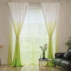 Deals For Less - 2 Pieces Green Ombre Design Window Curtains