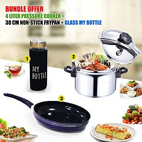 4 liter Pressure Cooker + 30 cm Non-stick frypan + Glass My bottle