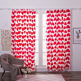 Deals For Less Double Layer Window & Door Curtain set of 2 Pieces, Hearts Design