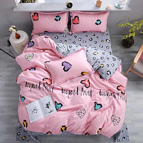 DEALS FOR LESS - Queen/Double Size, Duvet Cover, Bedding Set of 6 Pieces, Pink with Hearts Design, 1 Duvet cover + 1 bedsheet + 4 pillow covers.