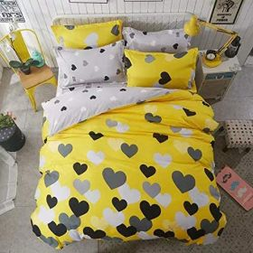 DEALS FOR LESS - King Size, Duvet Cover, Bed Sheet Set of 6 Pieces, Yellow Heart Design, 1 Duvet cover + 1 Fitted bedsheet + 4 pillow covers.