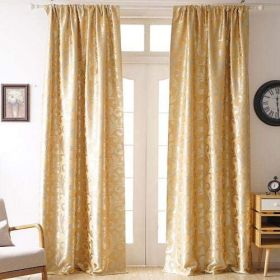 DEALS FOR LESS - 2 Pieces Jacquard Window Curtains, Paisely Gold