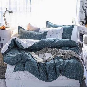 DEALS FOR LESS - King Size, Duvet Cover, Bedding Set of 6 Pieces,  Dots  Design, 1 Duvet cover + 1 Fitted bedsheet + 4 pillow covers.