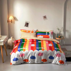 DEALS FOR LESS - Single Size, Duvet Cover, Bed Sheet Set of 4 Pieces, Rainbow Design, 1 Duvet cover + 1 Fitted bedsheet + 2 pillow covers