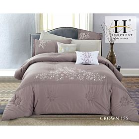 High Crest Cotton Embroidered Comforter 8PCS set CROWN-Rose Gold