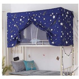 New DEALS FOR LESS -Bed Curtain, for Dormitory, Upper Deck Single Bed, Privacy Bed Tent with Metal frame and mosquito net, Stars Design…