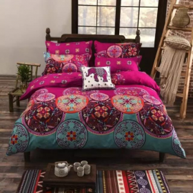 DEALS FOR LESS - Queen/Double Size, Duvet Cover, Bedding Set of 6 Pieces, Pink Bohemia Design, 1 Duvet cover + 1 bedsheet + 4 pillow covers.