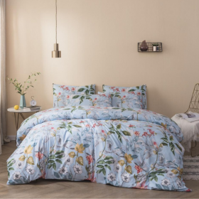 DEALS FOR LESS - King Size, Duvet Cover, Bed Sheet Set of 6 Pieces, Blue with floral  Design, 1 Duvet cover + 1 Fitted bedsheet + 4 pillow covers.