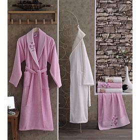 5PCS TERRY GUIPURE SINGLE BATHROBE SET