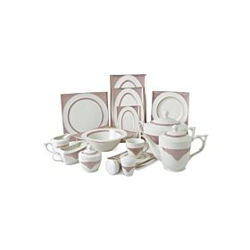 89-Piece Square Shape Dinnerware Set White&Pink