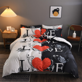 DEALS FOR LESS - King Size, Duvet Cover, Bed Sheet Set of 6 Pieces, Love with Red Heart Design, 1 Duvet cover + 1 Fitted bedsheet + 4 pillow covers.