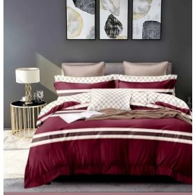 6 Pcs Duvet Cover Set King Size LS - Red White