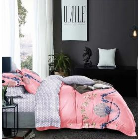 6 Pcs Duvet Cover Set King Size LS - Pink Grey