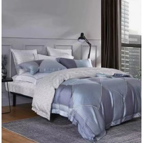 6 Pcs Duvet Cover Set King Size LS - Silver