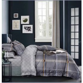 6 Pcs Duvet Cover Set King Size LS - Grey Box
