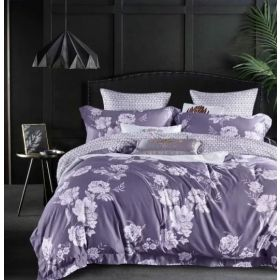 6 Pcs Duvet Cover Set King Size LS - Purple Flower