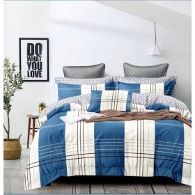 6 Pcs Duvet Cover Set King Size LS - White Blue