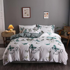 DEALS FOR LESS - Queen/Double Size, Duvet Cover, Bed Sheet Set of 6 Pieces, Green Butterfly Design, 1 Duvet cover + 1 bedsheet + 4 pillow covers.
