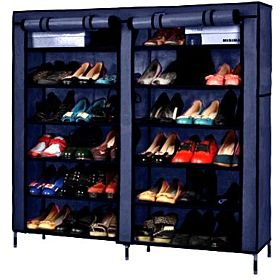 Double Door Shoe Rack Organizer - Blue