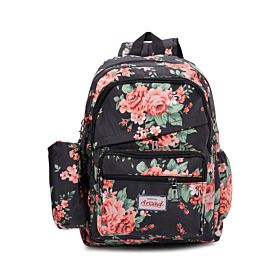 Arcad Floral Print Backpack With Pencil Pouch Black 33115