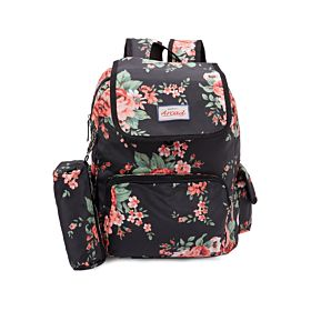 Arcad Floral Print Backpack With Pencil Pouch Black 33117