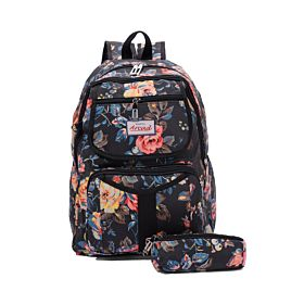 Arcad Floral Print Backpack With Pencil Pouch Black 33119