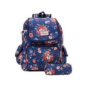 Arcad Floral Print Backpack With Pencil Pouch Blue 33117