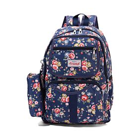 Arcad Floral Print Backpack With Pencil Pouch Blue 33119