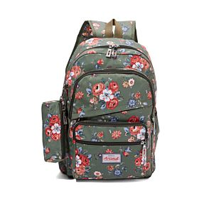 Arcad Floral Print Backpack With Pencil Pouch Green 33115