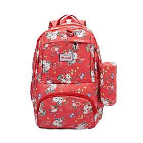 Arcad Floral Print Backpack With Pencil Pouch Red 33118