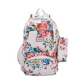 Arcad Floral Print Backpack With Pencil Pouch White 33118