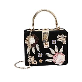 Arcad Flower Décor Crossbody Bag Black 33309