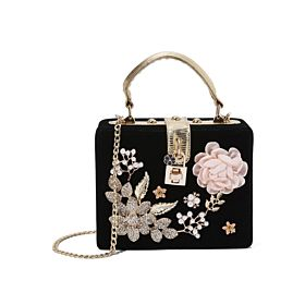 Arcad Flower Decor Crossbody Bag Black 33312