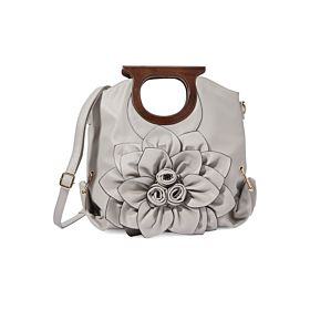 Arcad Flower Decor Shoulder Bag Grey 33576