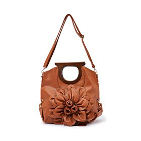 ARCAD Flower Decor Shoulder Bag ,Brown 33576